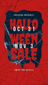 Halloween Sale Announcement Scary Spider Web