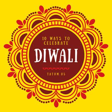 Happy Diwali Greeting Mandala in Yellow