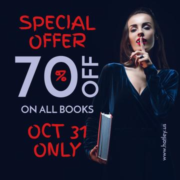 Halloween Books Sale Woman Showing Silence Gesture