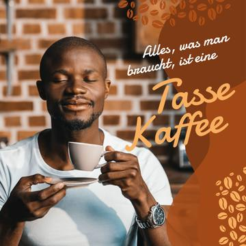 Coffee Shop Promotion Man with Hot Cup
