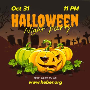 Halloween Party Invitation Carved Pumpkins at Graveyard