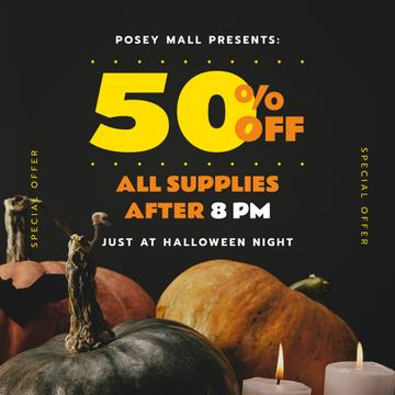 Halloween Night Sale Decorative Pumpkins and Candles