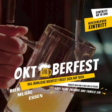 Oktoberfest Offer Pouring Beer in Glass Mug