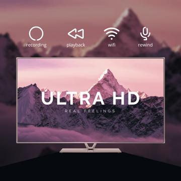 HD TV Ad with Mountains on Screen in Purple
