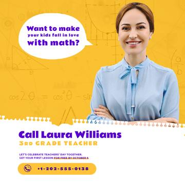 Teacher Quote with Smiling Woman in Blouse