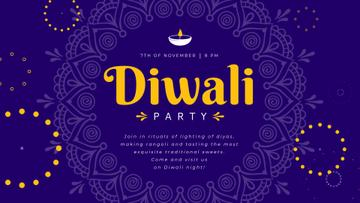 Diwali Party Invitation Mandala in Blue