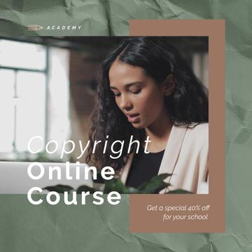Online Courses Ad with Woman Typing on Laptop