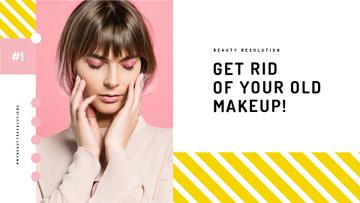 Cosmetics Sale Woman with Creative Makeup