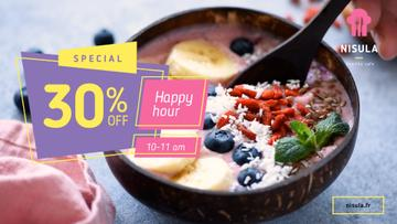 Happy Hour Offer Smoothie Bowl with Fruits