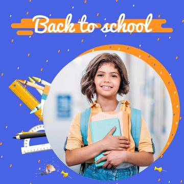 Back to School Offer with Smiling Schoolgirl with Books