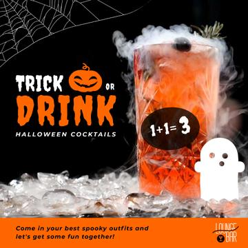 Trick or Treat Halloween Drink Offer with Cocktail Glass