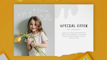 Back to School Offer Girl with Tulips Bouquet