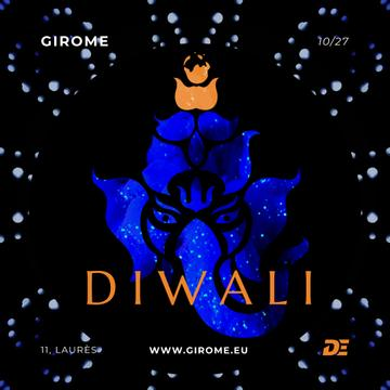 Happy Diwali Greeting with Elephant in Blue