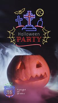 Halloween Party Invitation Scary Pumpkin in Smoke