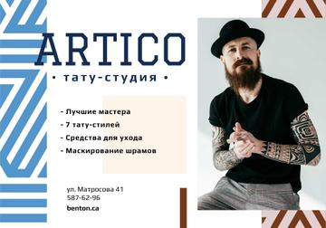 Tattoo Studio Ad with Young Tattooed Bearded Man