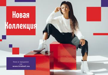 Fashion Ad with Woman in Monochrome Clothes