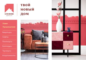 Luxury Home Offer with Interior in Pink