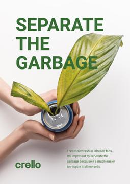 Recycling Concept with Woman Holding Plant in Can