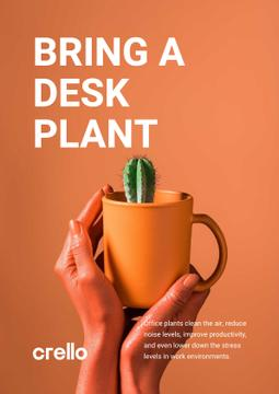 Ecology Concept Hands with Cactus in Cup