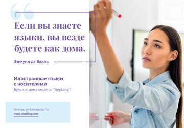 Language Courses Ad with Woman Writing on Board