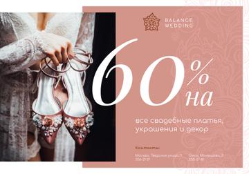 Wedding Store Offer Woman with Stylish Shoes in Pink