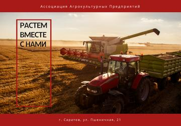 Agricultural Machinery Industry with Harvester Working in Field