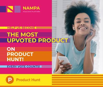 Product Hunt Campaign Woman Listening Music in Headphones