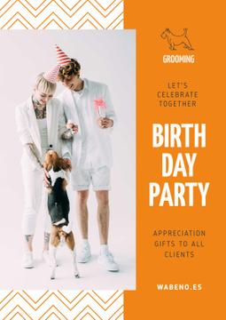 Birthday Party Annoucement with Couple with Dog