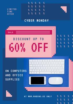 Cyber Monday Sale with Keyboard and Gadgets in Blue