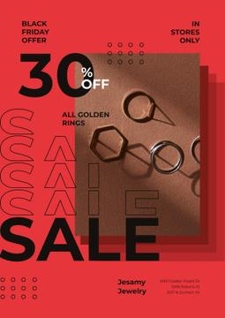 Jewelry Sale with Shiny Rings in Red