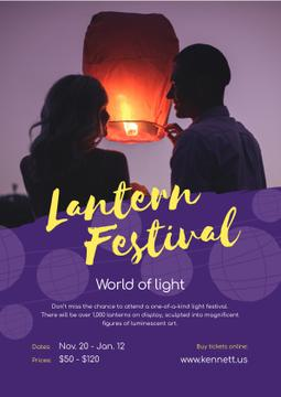 Lantern Festival with Couple with Sky Lantern