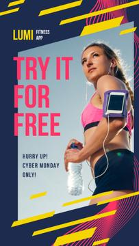 Cyber Monday Offer Woman Running with Smartphone