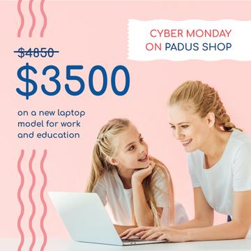 Cyber Monday Sale Mother and Daughter by Laptop