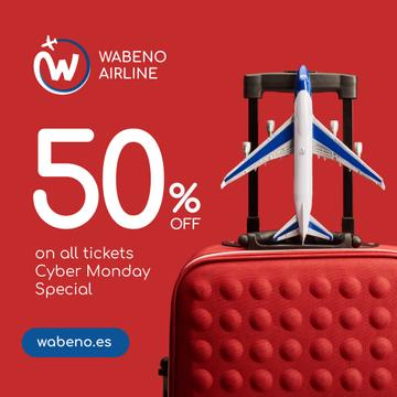 Cyber Monday Airlines Ticket Offer in Red