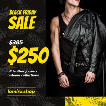 Black Friday Sale Man in Leather Jacket