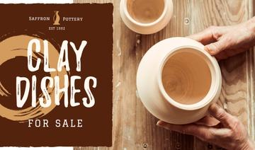 Ceramics Sale with Hands of Potter Creating Bowl
