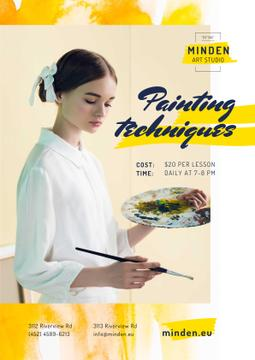 Painting Courses with Girl Holding Brush and Palette