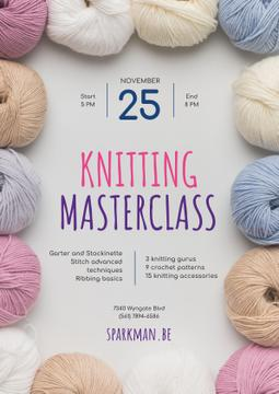 Knitting Masterclass Invitation with Wool Yarn Skeins