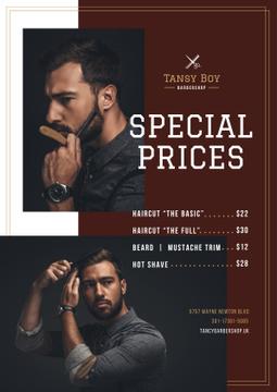 Barbershop Ad with Stylish Bearded Man