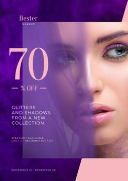 Cosmetics Sale Ad with Woman with Bold Makeup