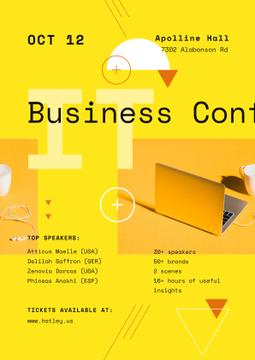 Business Conference Announcement with Laptop in Yellow