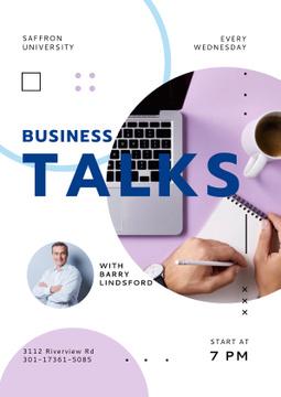 Business Talk Announcement with Confident Businessman