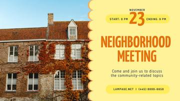 Neighborhood Meeting Announcement Old Building Facade