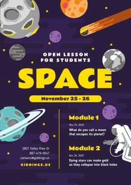 Space Lesson Announcement with Astronaut among Planets