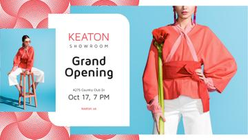 Showroom Grand Opening announcement with Stylish Woman