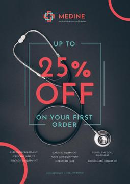 Clinic Promotion with Medical Stethoscope on Table