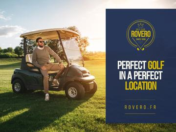 Golf Club Ad with Man in Golf Car
