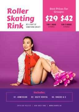 Rollerskating Rink Offer with Girl in Skates