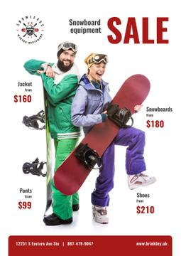 Snowboarding Equipment Sale People with Boards