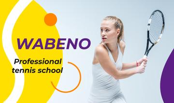Tennis School Ad Woman with Racket